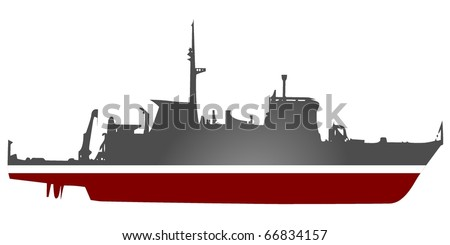 vector silhouette of a warship