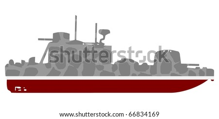 vector silhouette of a warship #6