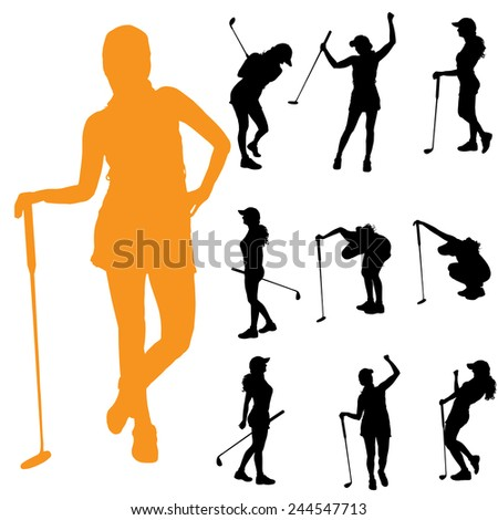 Vector silhouette of a woman who plays golf.
