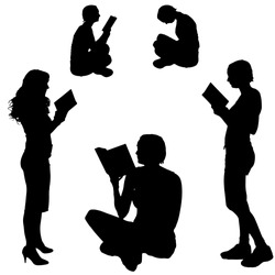 Vector Silhouette of a woman who reads on a white background.