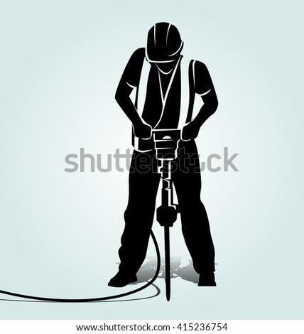 vector silhouette of a worker