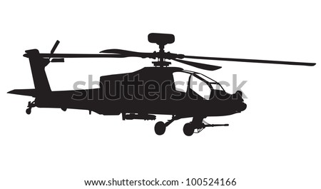 Vector silhouette of AH-64 Apache Longbow helicopter