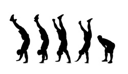 vector silhouette of an athletic guy walking on his hands