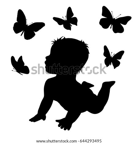vector silhouette of baby with