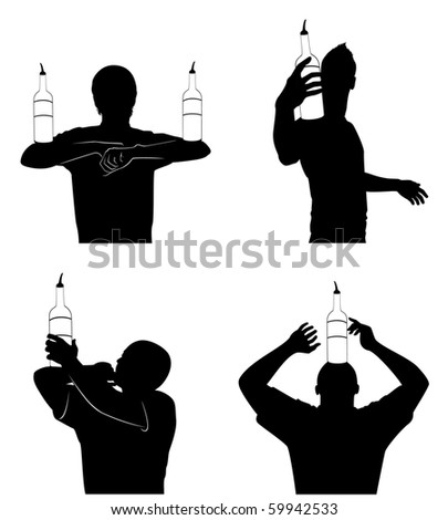 Vector silhouette of barmans showing tricks with a bottle