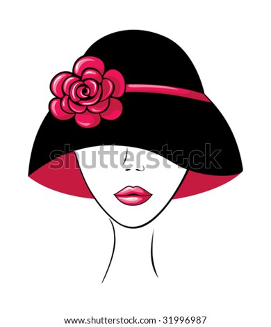 Vector silhouette of beautiful woman in a vintage hat with flower.