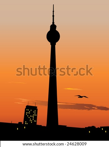 vector silhouette of berlin tv