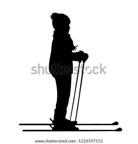 Vector silhouette of boy who skiing.