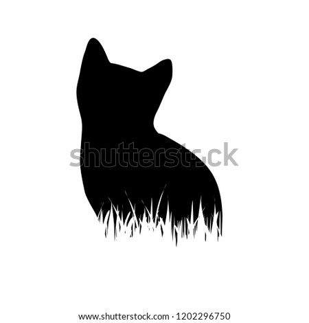 vector silhouette of cat in the