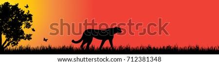 vector silhouette of cheetah in