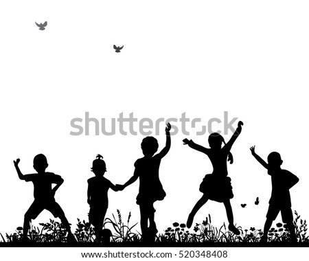 vector silhouette of children dancing and jumping