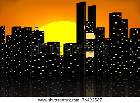 vector silhouette of city - stock vector