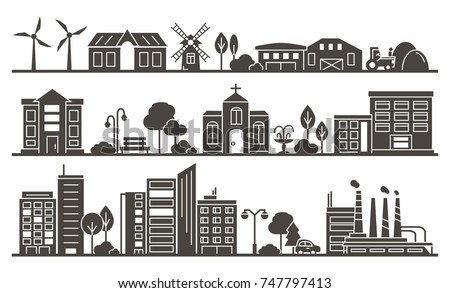 Vector Silhouette of City, Town and Countryside Illustration - buildings, skyscraper, church, park, factory, barn, mill, tractor and trees.