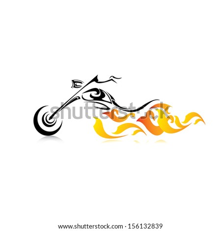 vector Silhouette of classic motorcycle with fire wings