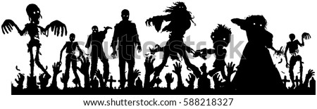 vector silhouette of  crowd of