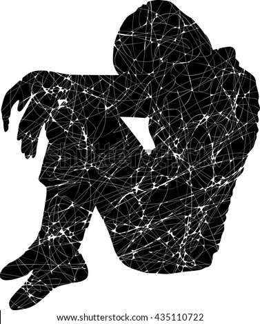 vector silhouette of depressed