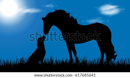 vector silhouette of dog and