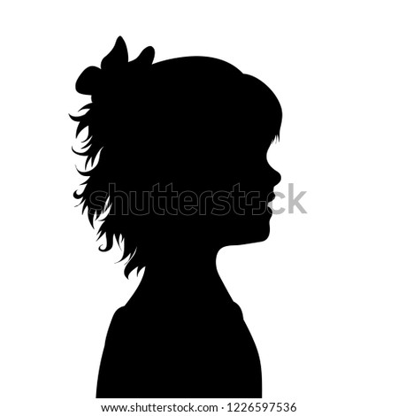 Vector silhouette of face of girl in profile.