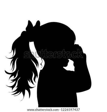 Vector silhouette of face of girl in profile as she crying.