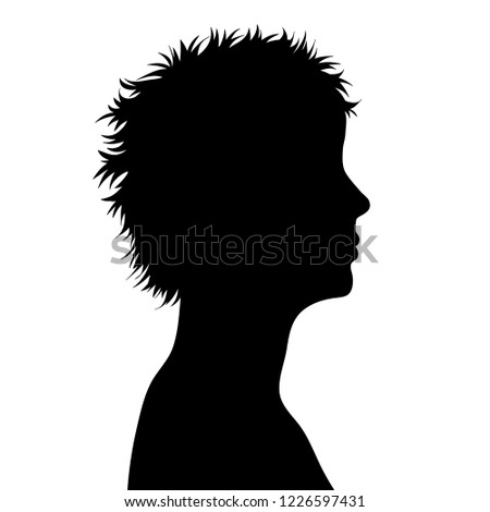 Vector silhouette of face of woman in profile.
