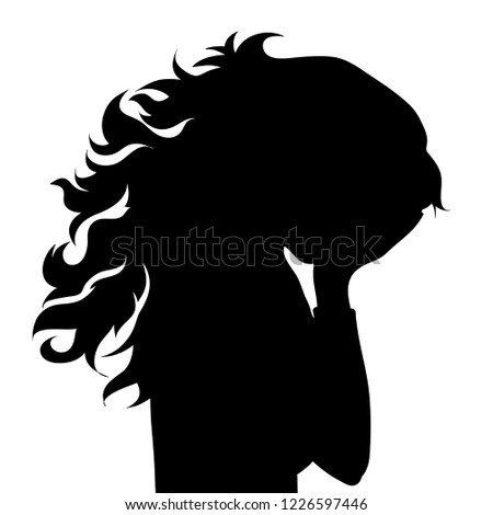 Vector silhouette of face of woman in profile as she crying.