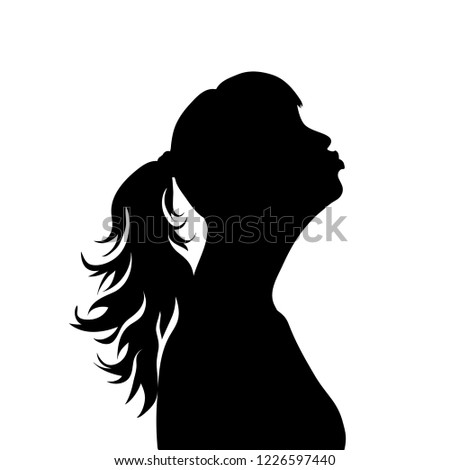Vector silhouette of face of woman in profile as she give a kiss.