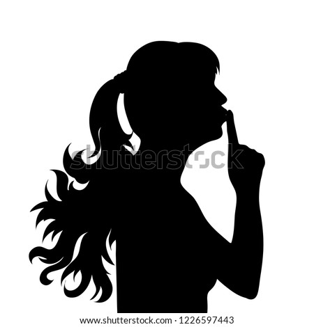 Vector silhouette of face of woman in profile as she whispers.