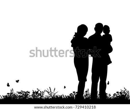 vector, silhouette of family, happiness