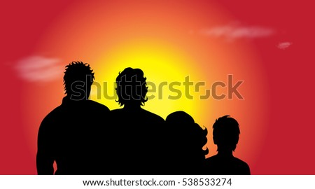vector silhouette of family in