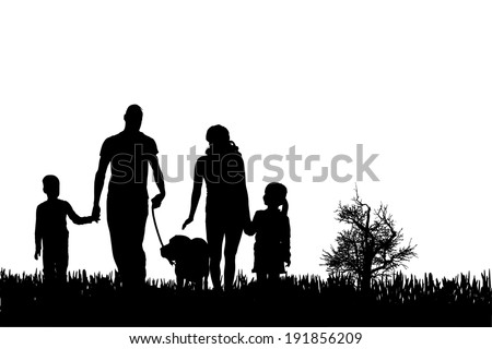 vector silhouette of family on