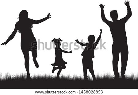 Vector silhouette of family. vector