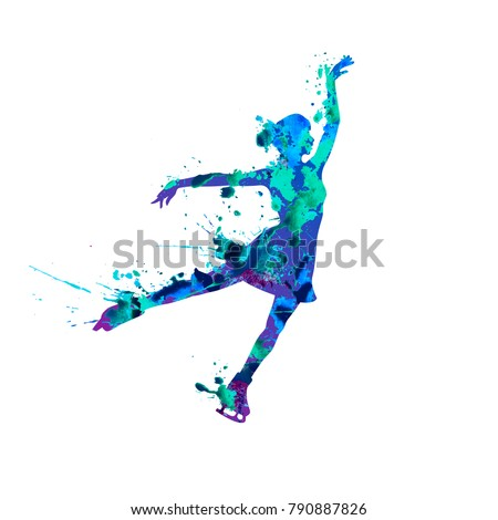 Vector silhouette of figure skating girl. Watercolor splash pain