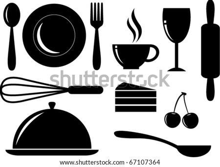 Vector Silhouette of food,drink,bakery and coffee icons