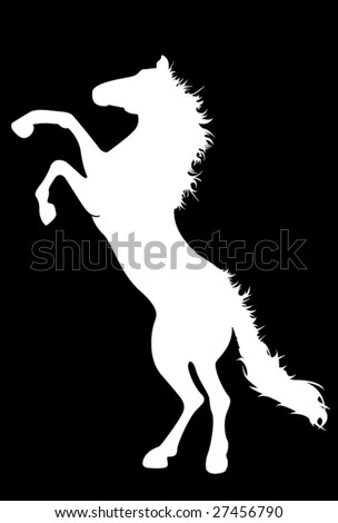Vector silhouette of furious horse