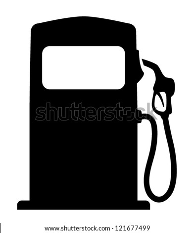 Vector silhouette of gas pump, isolated on white background