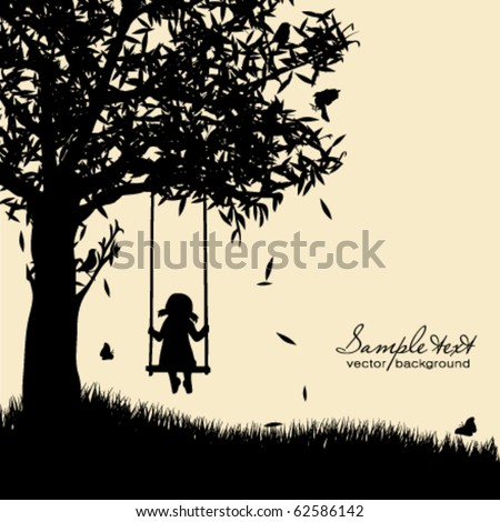 vector silhouette of girl on