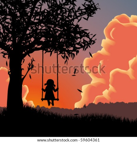 Vector silhouette of girl on swing. Sunset