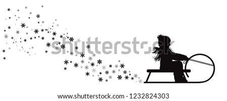 Vector silhouette of girl who sledding on snow toboggan. Foto stock ©