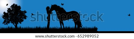 vector silhouette of girl with