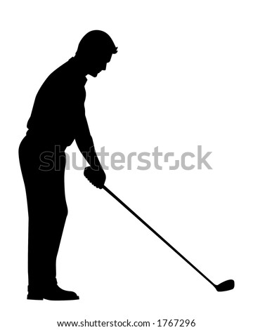 Vector Silhouette of Golfer