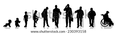 Vector silhouette of man as generation progresses.