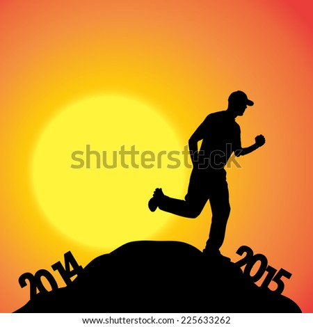 Vector silhouette of man at the turn of the year.