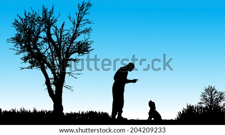 vector silhouette of man in