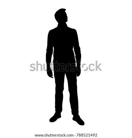 Vector silhouette of man standing, people,  black color, isolated on white background #788521492