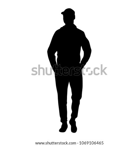 Vector silhouette of man  walking, business people, black color,  isolated on white background