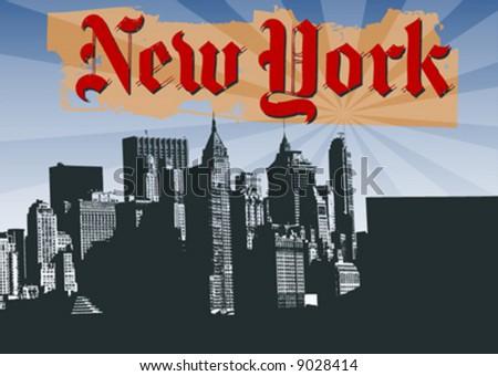 vector silhouette of new york