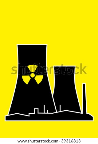 Vector silhouette of nuclear power plant on yellow background