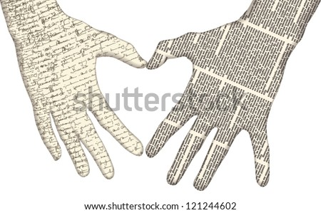 Vector silhouette of of hands showing heart shape of newspaper columns and handwritten text texture. All texts are unreadable.