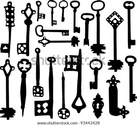 Vector silhouette of old fashioned skeleton keys