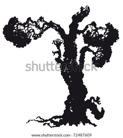 Vector silhouette of old tree